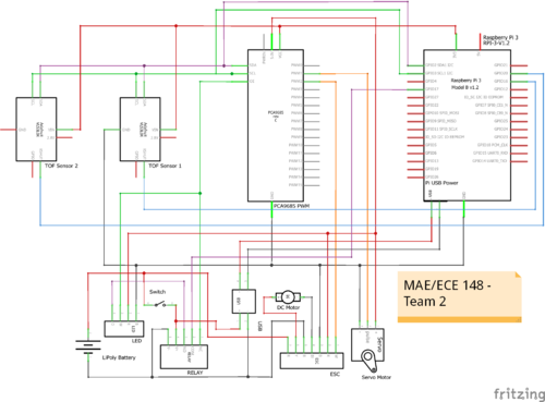 Circuit diagram for an autonomous parking R/C vehicle using two Adafruit VL53L0X TOF sensors.